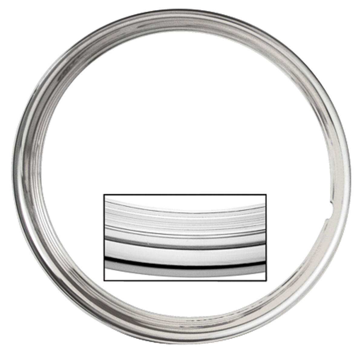 Trim Ring, SS Rally Wheel, 1969-70 CH/EC/MC, Square Lip, Stainless Steel
