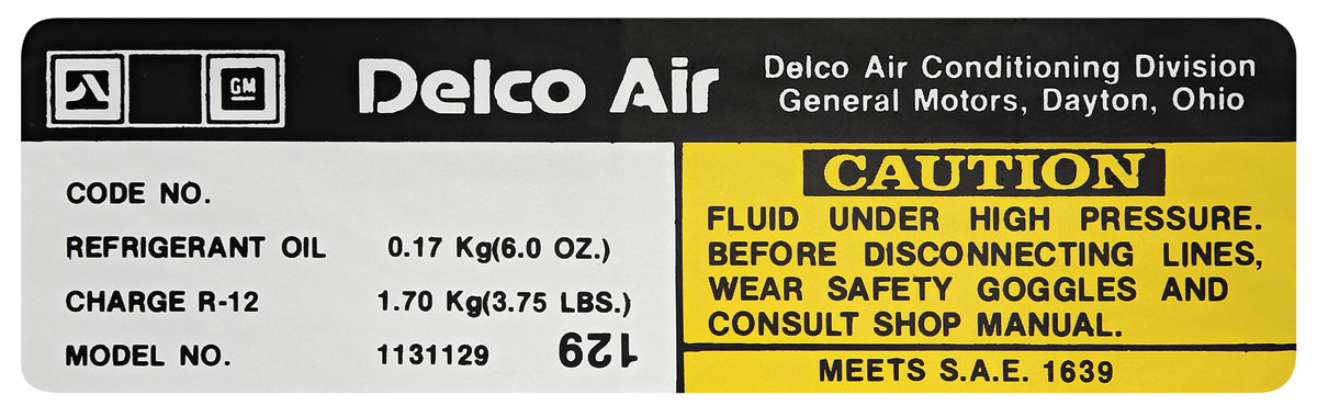 Decal, 78 GM G Body, Air Conditioning Compressor, Delco, # 1131129
