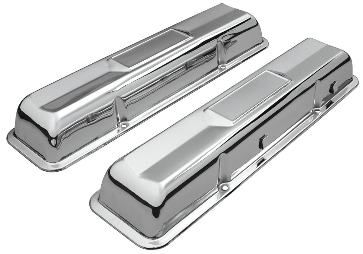 Valve Covers, Chevy Small Block, 1964-67 Original Style, Chrome